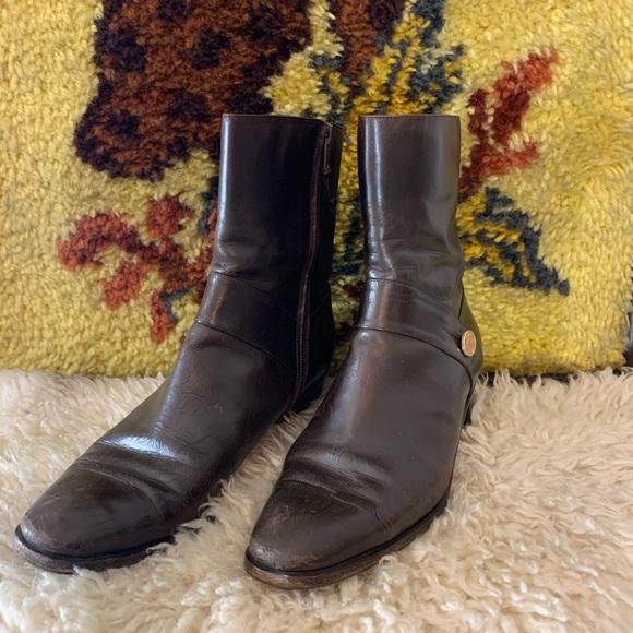 Salvatore Ferragamo Shoes - Ferragamo Brown Leather Boots 8